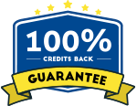 100% credit back in blue hexcagon and guarantee on yellow ribbon with five star on top